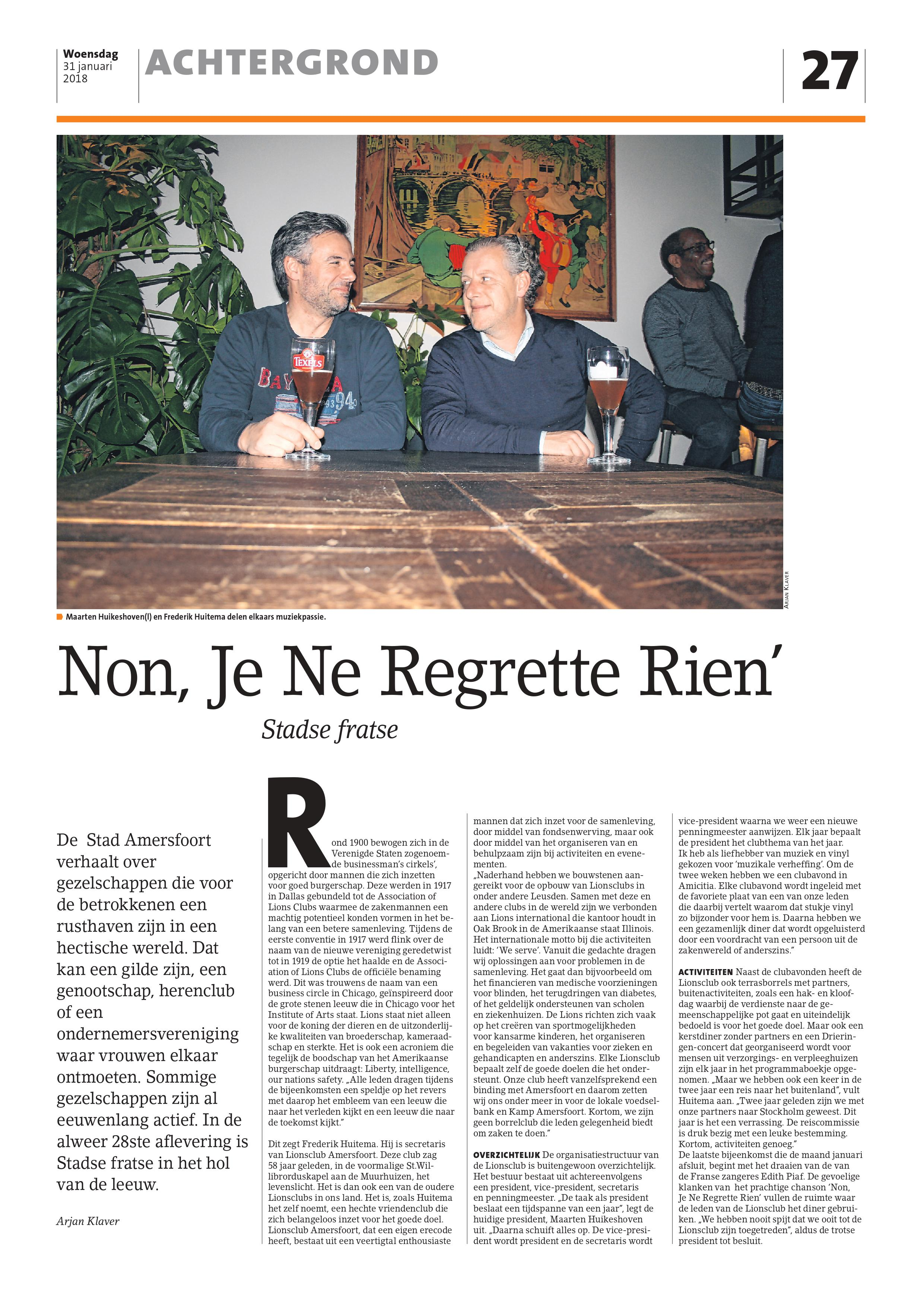 Lionsclub Amersfoort in de pers